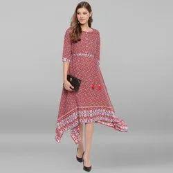 Janasya Women's Multicolor Rayon Ethnic Dress (J0062)