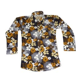Cotton Collar Neck Kids Printed Shirt, Size: 32-36
