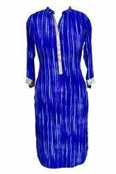 Casual Wear Blue Georgette Designer Straight Formal Kurti, Wash Care: Dry clean
