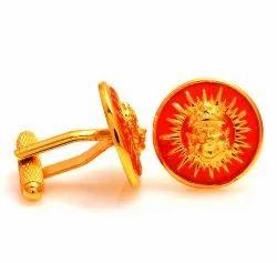 0.925 Silver Sun Cufflinks In Orange Enamel