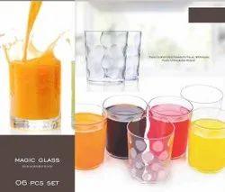 Mocktail/Juice Glass Set Round Dotted,Magic Glass 300 Ml - Set Of 6