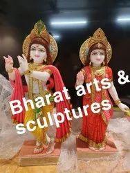 Colored Marble Radha Krishna Statue