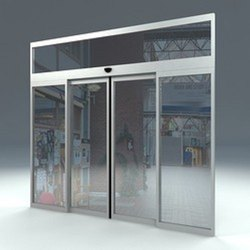 Glass Pristine White Sensor Operated Sliding Door, For Office, Interior