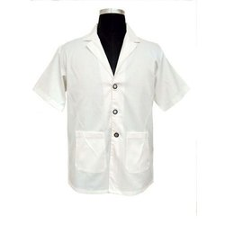 Pure Cotton White Half Sleeve Doctor Lab Coat, Size: 36,38
