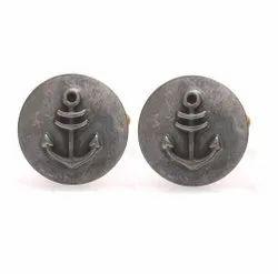 0.925 Oxidized Silver Anchor Cufflinks
