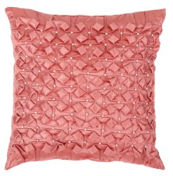 Designer Peach Square Handmade Satin Cushion Cover
