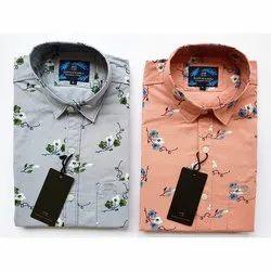 Cotton Collar Neck Men Full Sleeve Printed Shirts, Handwash