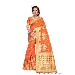 Ladies Orange Casual Jacquard Saree