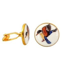 Hand Painted Exotic Birds Cufflinks In 92.5 Silver And White Enamel