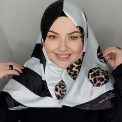 Polka Dot Printed Satin Silk Square Scarf Hijab
