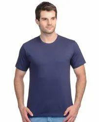Cotton Royal Blue Half Sleeves Plain T-Shirt, Age Group: 15-55