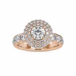 DEF Round Cut Full White Moissanite Cluster Ring White,Yellow,Rose Gold For Engagement