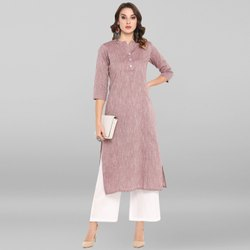 Janasya Women's Wine Pure Cotton Kurta(JNE3404)