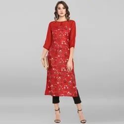 Janasya Women''S Red Poly Crepe Kurta (JNE3415)