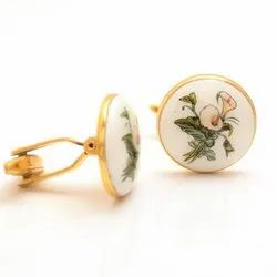Hand Painted Flowers Cufflinks In 925 Sterling Silver