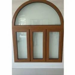 Brown UPVC Glass Arc Window