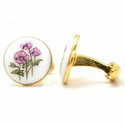 Hand Painted Flowers Cufflinks In 92.5 Sterling Silver And Enamel
