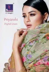 Shangrila Priyanshi Digital Linen Saree Catalog Collection
