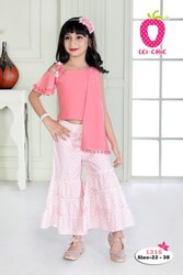 Girl Cool Pink One Side Bell Sleeve Stylish Top And Printed Palazzo Pant