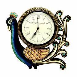 Wooden Peacock Analog Wall Clock