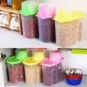 Kitchen Plastic Cereal Dispenser Dabba Jar Masalas Rice Pasta 2500ml Set Of 3
