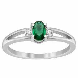 Split Shank 925 Sterling Silver 0.51 Ctw Green Color Gemstone Stackable Ring