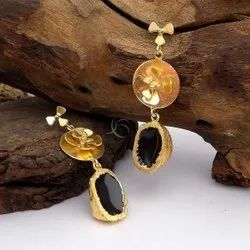 Gold Plated Black Gemstone Flower Design Earring Long Earring