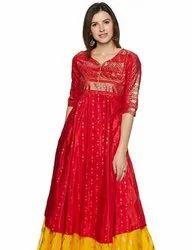 A-Line Red Branded Salwar Sets, Machine wash