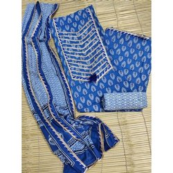 Blue Printed Unstitched Cotton Suit Fabric