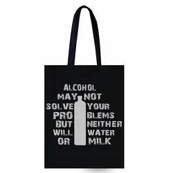 Black Quote Printed Cotton Tote Bag, Size/Dimension: 34x22 Cm