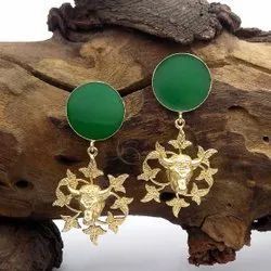 Gold Plated Medusa Charm Stud Earring Green Gemstone Earring Party Wear Earring