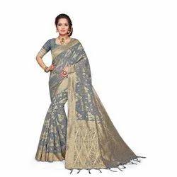 Ladies Grey Designer Jacquard Sarees