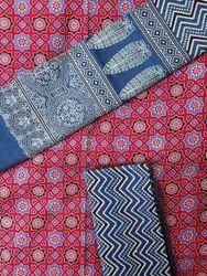 Cotton Casual Wear Ajrakh Printed Suit, Handwash