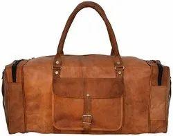 Brown Solid Leather Duffle Handmade Vintage Travel Bag