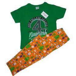 Cotton Printed Girls T-Shirt And Pajama Night Wear Set, Age Group: 4 - 14 Years