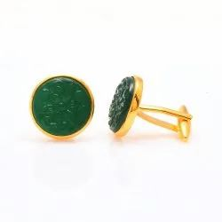 Hand Carved Green Cufflinks Set In .925 Silver