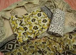 Yellow Printed Cotton Unstitched Women Suits