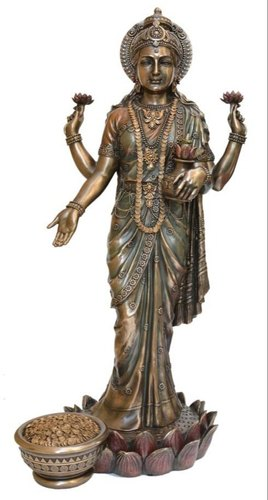 Copper Finish S.T.Laxmi Statue Indian God Idol Sculpture