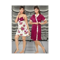 Satin Ladies Printed Night Suits, Size: Free Size