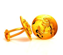 0.925 Silver Anchor Cufflinks In Golden Plating