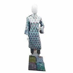 Ladies Rayon Kurti With Cotton Cigar Pant Set