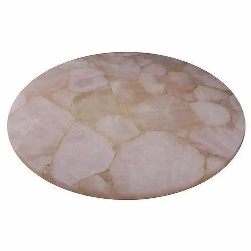 Semi Precious Stone ROSE QUARTZ TABLE TOP, Round, 20 Mm
