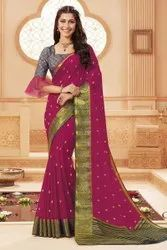 Party Wear Block Print Chiffon Sarees, With Blouse Piece, 5.5 m (separate blouse piece)