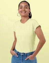 High90s Yellow Half Sleeves Ladies Plain T-Shirt, Age Group: 15-50