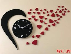VEZQLOX Red&Black Love Acrylic Wall Clock