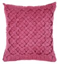 Peachy pink satin square cushion cover