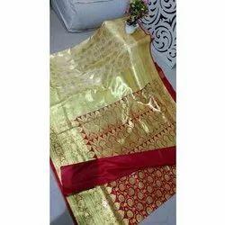 Party Wear Banarasi Silk Satin Cotton Saree, With Blouse, 6 m