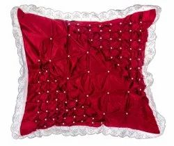 Rose pink colored square cushion cover