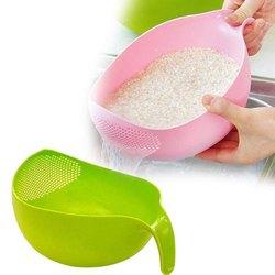Plastic Vegetable Fruit Basket/Colander Rice Wash Sieve Washing Bowl With Handle