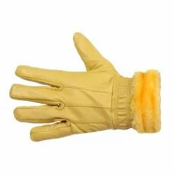Plain LEATHER GLOVES FOR GIRLS, Size: Large